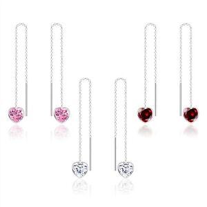 925 Sterling Silver 6MM Heart CZ Zirconia Thread Through Earrings Threader Women