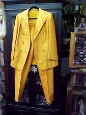 Mod Mid Century Sunburst Yellow Silk Haute Couture Suit Eric Pang Taylor Sz M