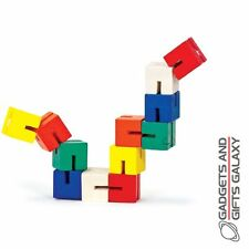 8 Wooden Twist and Lock Blocks Puzzle - Tobar Fidget Training Toys Autism ADHD