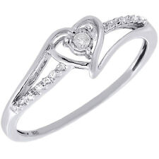 Diamond Heart Shape Ring .925 Sterling Silver Solitaire Engagement Band 0.02 Ctw