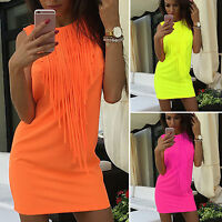 Womens Sleeveless Short Mini Dress Fringe Summer Bodycon Cocktail Party Clubwear