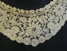 Exquisite Antique Brussels LACE Lappet Collar POINT de GAZE needle work