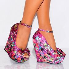 FUCHSIA MULTI PRINT SATIN BOW ANKLE STRAP WEDGED PLATFORMS WEDGES HIGH HEELS 3-8