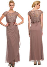 LIGHT BROWN FORMAL MODEST MOTHER OF THE BRIDE GROOM DRESS EVINING Size XL Fit 12