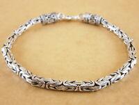 "New Oxidized 925 Sterling Silver Byzantine Bali Borobudur Bracelet 8"" 23g 4mm"