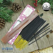 5 x boîtes de 60 encens bâtons d'encens en bois et porte-lily bloom (300 bâtons)