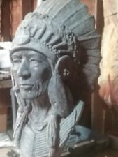 Rare & Regal Cast Stone Native American  Indian Chief Bust