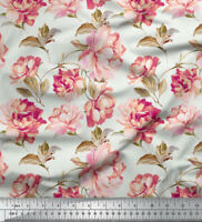 Soimoi Pure Silk Fabric 20 GSM Floral Print 44 Inches Wide Material 1 Mtr.