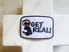 Black Felix Cat Get Real Saying  Quote Cheeky  Embroidered Iron On Patches Patch