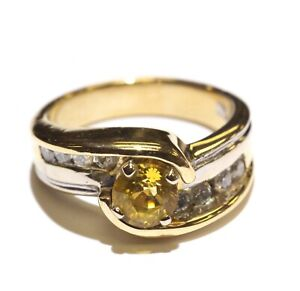 18k yellow white gold .24ct VS1 H diamond yellow sapphire ring 11.1g size 6.75