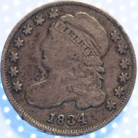 1834 LARGE 4 CAPPED BUST DIME, NICELY CIRCULATED CAPPED BUST DIME, CLASSIC TYPE!