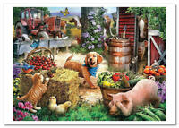 FUNNY Animals Cottage Farm CAT-DOG-Pig Art collection Russian modern Postcard