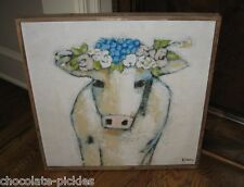 BiG Canvas COW PICTURE*Blues*Wood Frame*Primitive/French Country/Farmhouse Decor