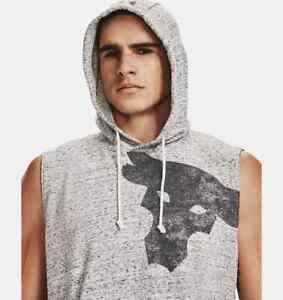 Under Armour Men's Project Rock Terry Bull Sleeveless Hoodie gray Large