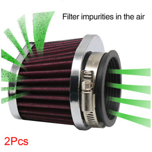 2pcs 60mm Air Cleaner Intake Filter Pod Kit Universal For Motorcycle Scooter ATV