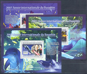 Guinea 2007 Fauna of Sea. Dolphins, 3 s/sheets. MNH