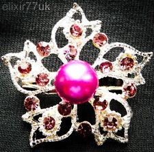 Pink Pearl Vintage Bouquet Sterling Lot New Silver Pin Back Flower Brooch Purple