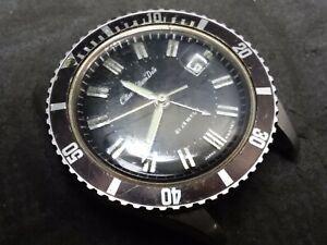 Vintage * RARE * Citizen ALARM DATE Diver Black Dial 63-7076 Bidirectional Bezel