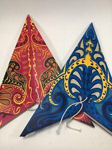 Set of 2 Festive 3D Paper Star Lanterns Decorations Blue Pink Paisley Design