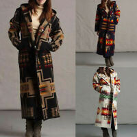 WOMENS ELEGANT LONG WOOLEN TRENCH CARDIGAN COAT WINTER WARM JACKET OVERCOAT PLUS