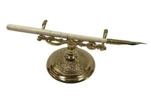 Victorian Trading Co Bronte Bone Fountain Pen & Brass Stand