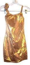 Sz 2XS - Caliente Clubwear Gold Metallic Polka Dot Ruffled Sleeve Dress Size 2XS