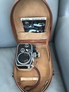 PAILLARD BOLEX B8L DOUBLE 8mm MOVIE CAMERA + CASE + BOOKLET.  SWISS