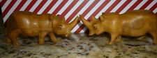 "Carved Wooden Rhinos 4 1/2 "" Long 2"" Tall And 2"" Wide Lot Of 2"