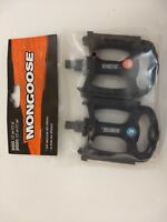 New Pair Mongoose Black Resin Bicycle Bike Pedals Set 1/2-Inch Steel Spindle