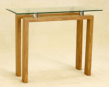 Console Hall Side Display Table Clear Glass Rectangle Top Wood Frame Oak Finish