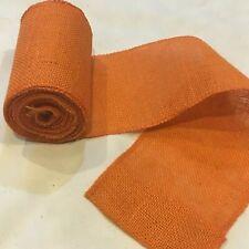 "5"" wide Orange Burlap Ribbon 10 Yard Roll 10oz - 30 feet Finished Edges BS152"