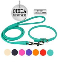 Rolled Leather Dog Collar Lead Set Personalised ID Tag Soft Padded Leash for Dog