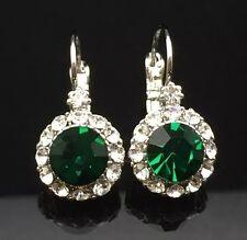 Emerald Green Crystal Swarovski Earring Wedding Silver 14ct White Gold GP