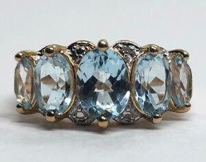 Vintage Sterling Silver Ring 925 Size 8.5 Blue Stone Topaz Vermeil PAJ signed