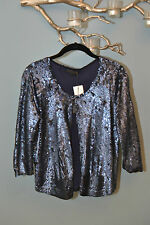 $800 J.Crew COLLECTIONS navy blue sequin jacket bolero top cover up top M NWT