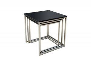 Design Beistelltisch STAGE 3er Set matt schwarz Edelstahl