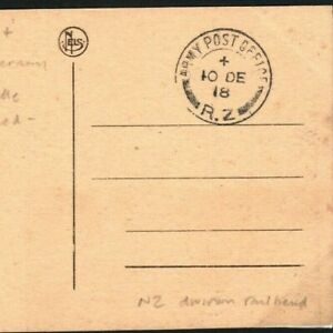 NEW ZEALAND Post-WW1 *APO/RZ* Division Railhead First Day in GERMANY 1918 38c.13