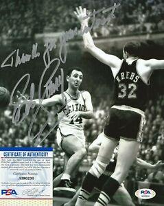BOB COUSY Autographed Signed 8x10 Photo - PSA/DNA COA - Boston Celtics NBA HOF