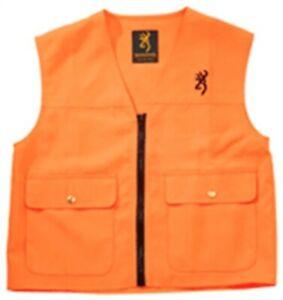 Browning Junior Safety Vest Large Blaze Polyester Front Zip Orange 3055000103