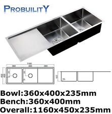 1160 x 450 mm Stainless Steel Commercial Kitchen Laundry Under Mount Double Sink