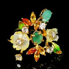 REAL YELLOW FLOWER PEARL CARVED NATURAL EMERALD, SAPPHIRE.. RING,8.5  925 SILVER