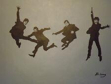The Beatles bleu noir chiffres Grande Peinture à l'huile sur toile Modern Pop Art Musique