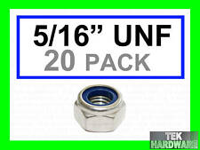 "Stainless Steel UNF Imperial Nylon lock Nuts  5/16""   20 Pack"