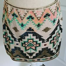 Express Sequin Geometric Pull On Stretch Mini Skirt Aztec Southwestern Party SML