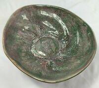 Vintage Hammat Original 322 Signed Pottery Dish Glossy Unique Mauve Green Glaze
