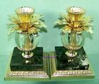 2+ANTIQUE+CANDLESTICK+HOLDERS+BLACK+MARBLE+BASE+USA+by+DILLY+MFG.+CO.