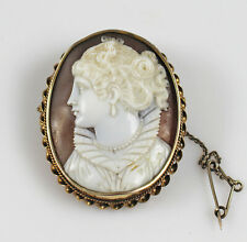 Antique Victorian Lady Cameo Pinchbeck Brooch with Locket Back