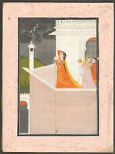 Antique Indian Miniature Painting - Absent Lover Monsoon Pahari - Hindu 1820