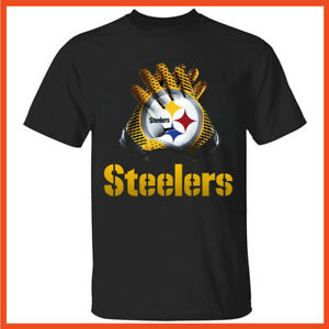 Men's Pittsburgh Steelers T-shirt Ben Roethlisberger Gloves Black T Shirt S-5XL