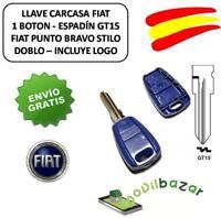 LLAVE CARCASA FIAT PUNTO DOBLO BRAVO STILO MAREA 1 BOTON MANDO. DESDE ESPAÑA